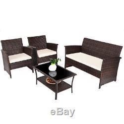 4 PCS Outdoor Patio Rattan Furniture Set Wicker Sofa Table Shelf Cushion