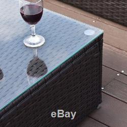 4 PCS Outdoor Patio Rattan Wicker Furniture Set Loveseat Cushioned Yard Garden