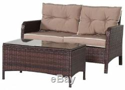 4 PCS Outdoor Patio Rattan Wicker Furniture Set Sofa Loveseat With