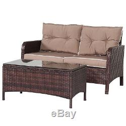 4 PCS Outdoor Patio Rattan Wicker Furniture Set Sofa Loveseat With Cushions NEW