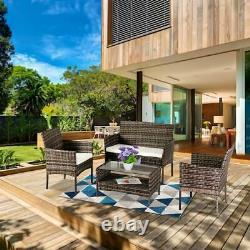 4 PCS Outdoor Patio Rattan Wicker Furniture Set Tea Table Sofa Yard Deck Gray