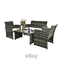 4 PCS Outdoor Patio Rattan Wicker Furniture Sets Garden Balcony Cushioned Sofa