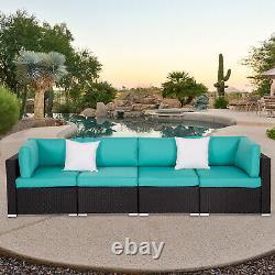 4 PCS Outdoor Patio Rattan Wicker Furniture Sofa Set Cushioned Deck Tiffany Blue