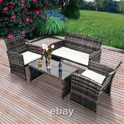 4 PCS Outdoor Wicker Rattan Sectional Sofa Set Patio Furniture Cushioned Seat