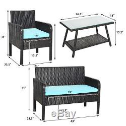 4 PCS Patio Furniture Outdoor PE Rattan Wicker Table Chair Sofa Set Cushion Seat