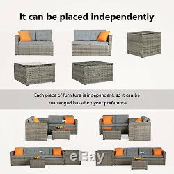 4 PCS Patio Furniture Sectional Sofa Set Rattan Wicker Cushioned Couch Outdoor