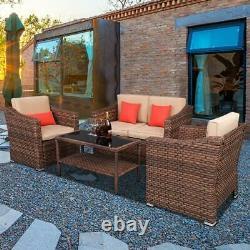 4 PCS Patio Rattan Furniture Set Cushioned Sofa Coffee Table Deck Outdoor Indoor