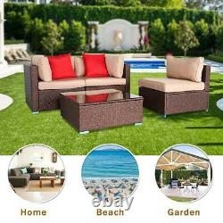 4 PCS Patio Rattan Wicker Sofa Set Cushioned Furniture Indoor/Outdoor Sectional