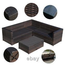 4 PCS Rattan Wicker Sectional Sofa Set Outdoor Patio Garden Furniture with Table
