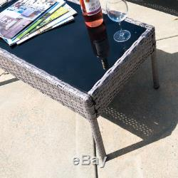 4 PC Furniture Outdoor Set 4 Piece Patio Rattan 1 Glass Table 2 Chairs 1 Sofa