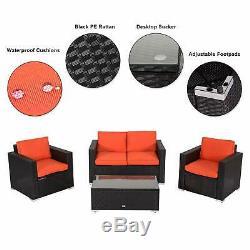 4 PC Outdoor Rattan Wicker Patio Furniture Set Sectional Cushioned Sofa Orange