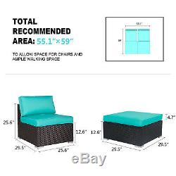 4 PC PE Rattan Wicker Sofa Set Sectional Ottoman Couch Patio Outdoor Furniture