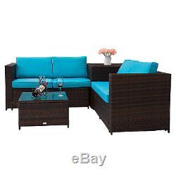 4 PC Rattan Outdoor Indoor Patio Garden PE Wicker Storage Sofa Furniture Set