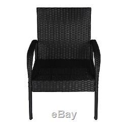 4 PC Wicker Conversation Set Rattan Patio Furniture Sofa Set Outdoor Black