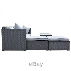 4 Pc Patio Rattan Sofa Table Set Wicker Garden Furniture Outdoor Sectional Couch