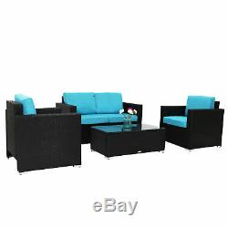 4 Pc Patio Wicker Sofa Sectional Set Couch Outdoor Furniture with Blue Cushion