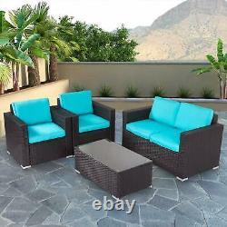 4 Pc Patio Wicker Sofa Set Outdoor Furniture Rattan Sofa Removable Cushion Blue