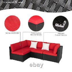 4 Pcs Outdoor Patio Rattan Sofa Loveseat Couch Garden Furniture Set Backyard