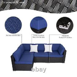 4 Pcs Outdoor Patio Sofa Set Wicker Rattan Sectional Furniture With 2 Pillows