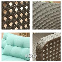4 Pcs Patio Rattan Sofa Set Wicker Garden Furniture Outdoor Sectional Couch