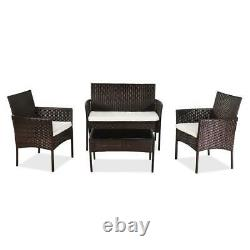 4 Pcs Patio Sofa Set Outdoor Rattan Wicker Conversation Furniture Set withCushion