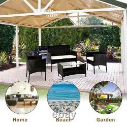 4 Pcs Wicker Patio Cushioned Outdoor Chair and Table Furniture Set Home Garden