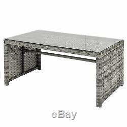 4 Piece Outdoor Cushioned Wicker Seat Mix Gray Patio Sofa Furniture Set