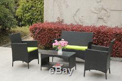 4-Piece Outdoor Garden Rattan Set Patio Furniture Sofa WithStorage Table WithCushion