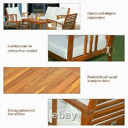 4 Piece Outdoor Patio Furniture Set Acacia Wood Coffee Table and Chair Clearance