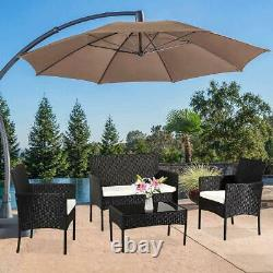 4 Piece Outdoor Patio Furniture Sets with Coffee Table Backyard Lawn Porch Sofa