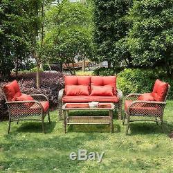 4 Piece Outdoor Patio Garden Conversation Furniture Sets for Backyard, Pool