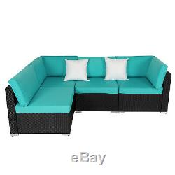 4 Piece Outdoor Patio Sectional Furniture Sets Wicker Rattan Sofa With 2 Pillows