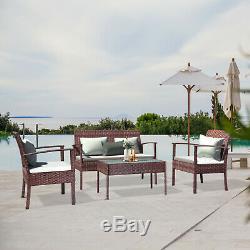 4 Piece Patio Furniture Set Outdoor Wicker Sofas Rattan Chair Conversation Set