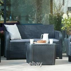 4 Piece Rattan Garden Set Furniture Chairs Sofa Table Outdoor Patio Conservatory
