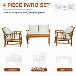 4 Piece Solid Acacia Wood Dining Sets Outdoor Patio Furniture Chat Set Cream