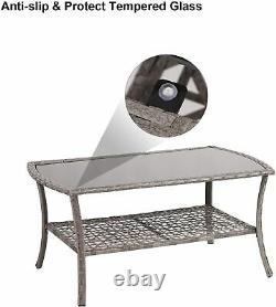 4 Pieces Patio Outdoor Rattan Sets Conversation Furniture Set 4 Seats