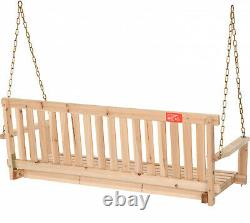 4 Swing with Chains Wood Porch Natural Finish Garden Yard Patio Outdoor Furniture