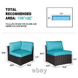 4 pcs Outdoor Patio Wicker Rattan Sofa Set Garden Couch Furniture w / 2 Pillows