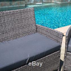 4pc Outdoor Rattan Wicker Patio Set Sectional Garden Lawn Cushion Furniture Sofa