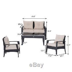 4pc Patio PE Wicker Furniture Rattan Sofa Set Outdoor Table & Chairs Cushioned
