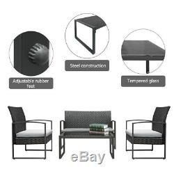 4pc Patio Wicker PE Furniture Outdoor Rattan Sofa Set Garden Lawn /w Cushions