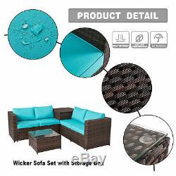 4pc Rattan loveseat Recliner Sectional Sofa Set Patio Home Outdoor Furniture