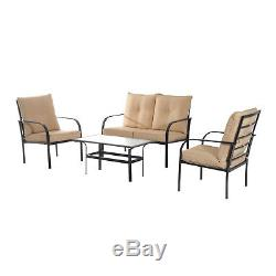 4pcs Outdoor Patio Furniture Sectional Set Garden Sofa Table Chair Cushioned