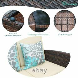 4pcs Outdoor Patio Sofa Set PE Rattan Wicker Sectional Furniture Outside Couch