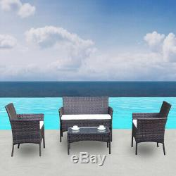 4pcs Outdoor Rattan Patio Furniture Set Garden Lawn Table Sofa Set with Cushion