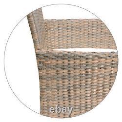4pcs Outdoor Rattan Patio Wicker Furniture Set Garden Relax Sofa Table WithCushion
