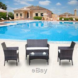 4pcs Rattan Patio Furniture Outdoor Sofa Set Cushion Seat Garden Glass Table Set
