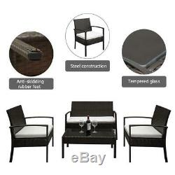 4pcs Rattan Wicker Patio Furniture Table Chairs Set Outdoor Backyard Garden