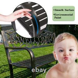 50 Patio Garden Bench Park Yard Outdoor Furniture Steel Frame Porch Chair W23