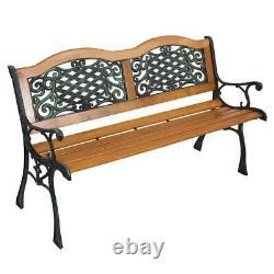 50 Steel Bench Outdoor Garden Park Porch Patio Chair Metal Furniture Back yard
